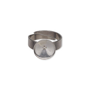 ring, almost instant jewelry, stainless steel, 11mm round with ss47 rivoli setting, adjustable from size 5-9. sold per pkg of 2.