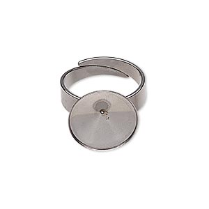 ring, almost instant jewelry, stainless steel, 14.5mm wide with 14mm rivoli setting, adjustable from size 5-9. sold per pkg of 2.