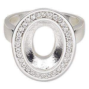 ring, almost instant jewelry, swarovski crystals and silver-plated pewter (zinc-based alloy), crystal clear, 21x17mm oval with 14x10mm oval setting, size 8. sold individually.