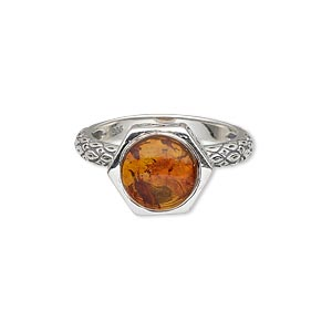 ring, amber (reconstituted) and sterling silver, 13x13mm filigree fancy hexagon with 11mm round, size 9. sold individually.
