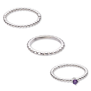ring, amethyst (natural) and sterling silver, 2mm wide spiked band / 2mm / 4mm wide beaded band, size 8. sold per 3-piece set.