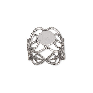 ring, antique silver-plated brass, 14mm wide with double heart and 8mm round flat pad setting, adjustable from size 7-9. sold per pkg of 8.
