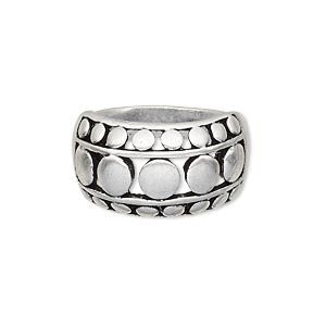 ring, antique silver-plated pewter (zinc-based alloy), 13mm wide with flat beaded design, size 9. sold individually.