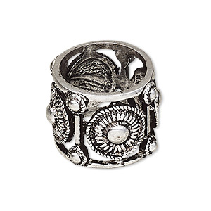 ring, antique silver-plated pewter (zinc-based alloy), 20mm wide with circle and dot design, size 8. sold individually.