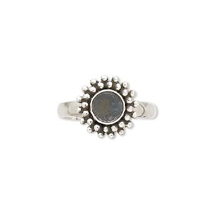 ring, antiqued sterling silver, 12mm beaded round with 6mm round bezel setting, size 7. sold individually.
