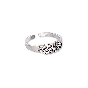ring, antiqued sterling silver, 5.5mm wide with swirl pattern, adjustable from size 5.5-7. sold individually.