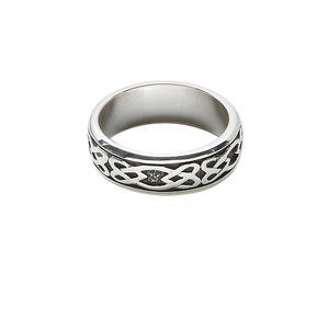 ring, antiqued sterling silver, 7mm wide with celtic knot design, size 10. sold individually.