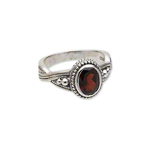 ring, antiqued sterling silver and garnet (natural), 9x7mm faceted oval with beaded design, size 7. sold individually.