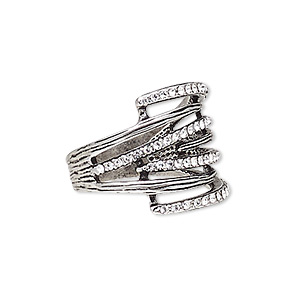 ring, austrian crystal and antique silver-plated pewter (zinc-based alloy), clear, 19mm wide with lines, size 8. sold individually.
