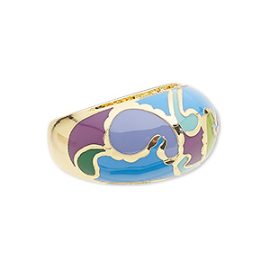 ring, avant-garde jewelry collection, enamel / czech glass rhinestone / gold-plated brass, multicolored, 14mm wide with wavy design, size 8-1/2. sold individually.