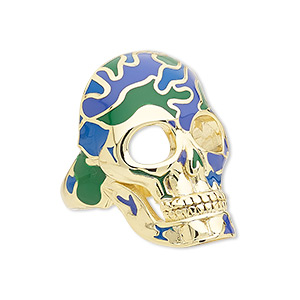 ring, avant-garde jewelry collection, enamel and gold-plated brass, green and blue, 33x22mm skull, size 8-1/2. sold individually.