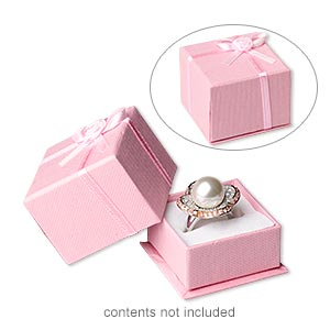 ring box, cardboard / paper / satin / velveteen, pink and white, 1-3/4 x 1-3/4 x 1-1/4 inch square. sold per pkg of 24.