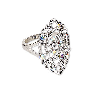 ring, czech glass rhinestone and imitation rhodium-plated pewter (zinc-based alloy), clear and clear ab, 28x17mm marquise, size 9. sold individually.