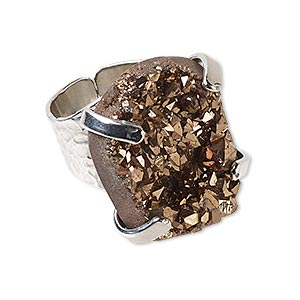 ring, electroplated druzy agate (coated) and imitation rhodium-plated brass, brown, hammered band with 24x18mm-27x21mm hand-cut freeform, adjustable. sold individually.