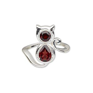 ring, garnet (natural) and silver-plated sterling silver, 18x8mm cat with 8x6mm faceted pear and 5mm faceted round, size 8. sold individually.