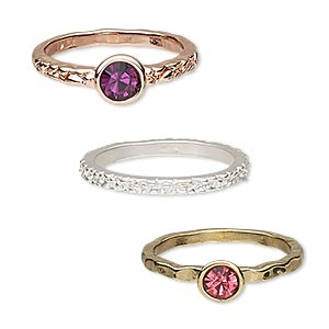 ring, glass rhinestone / gold- / silver- / copper-finished pewter (zinc-based alloy), pink and purple, 2mm wide textured band / 2mm wide with 4mm faceted round / 2mm wide with 5mm faceted round, size 8. sold per 3-piece set.
