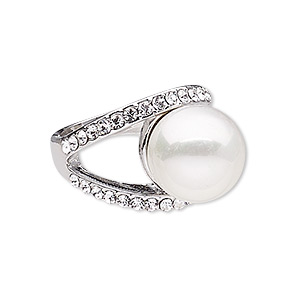 ring, glass rhinestone / plastic pearl / imitation rhodium-finished pewter (zinc-based alloy), white and clear, 17mm wide with 14mm round, size 8. sold individually.