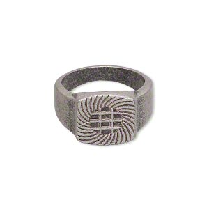 ring, glue-on, antique silver-plated pewter (zinc-based alloy), smooth band with 13x13mm flat base, size 7.5. sold individually.