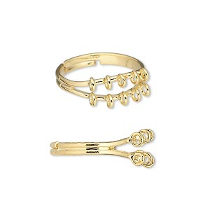 ring, gold-plated brass, 6mm with 10 loops, adjustable. sold per pkg of 10.