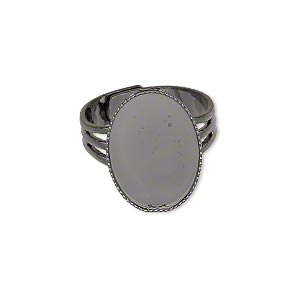 ring, gunmetal-plated brass, 19x14mm with 18x13mm oval setting, adjustable from size 7-10. sold per pkg of 6.