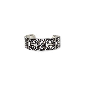 ring, imitation rhodium-finished carbon steel, black and white, 6mm wide with celtic knot design, adjustable. sold per pkg of 4.