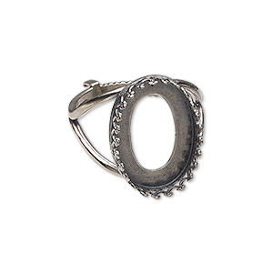 ring, jbb findings, sterling silver, 19mm wide with decorative trim and 18x13mm oval bezel setting, adjustable from size 6-8. sold individually.