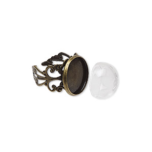 ring, keepsafe keeper™, glass and antique brass-plated pewter (zinc-based alloy), clear, 18mm wide fancy band with 16x9mm dome and 16mm round setting, adjustable from size 7-10. sold per 2-piece set.