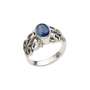 ring, kyanite (natural) and sterling silver, 11mm wide with 8x6mm oval and filigree design, size 8. sold individually.