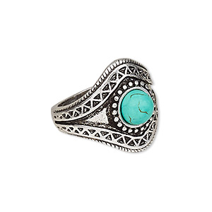 ring, magnesite (dyed / stabilized) and antique silver-plated pewter (zinc-based alloy), blue, 22mm wide with round, size 8. sold individually.
