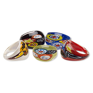 ring, millefiori and lampworked glass, assorted colors, 18-21mm wide, size 8. sold per pkg of 5.