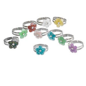 ring mix, acrylic and nickel-finished steel, multicolored, 12mm flower, adjustable. sold per pkg of 10.