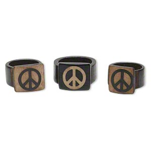 ring mix, bone (dyed), brown and tan, 15mm wide with peace sign, mohs hardness 2-1/2, size 6-1/2 to 11. sold per pkg of 3.