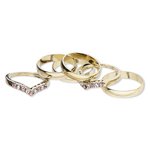 ring mix, glass rhinestone and gold-finished brass, clear and pink, 4mm and 6mm wide, size 5 to 12-1/2. sold per pkg of 6.