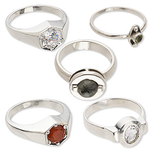 ring mix, multi-gemstone (natural / dyed / heated / irradiated) and sterling silver, 4-16mm wide, size 5-10. sold per pkg of 5.