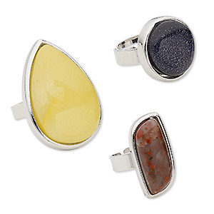 ring mix, multi-gemstone (natural / dyed / imitation) / glass / silver-finished steel / pewter (zinc-based alloy), mixed colors, 13mm-34x27mm mixed shape, adjustable from size 5-9. sold per pkg of 3.