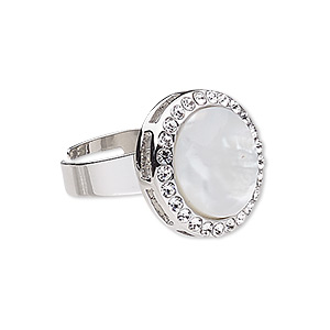 ring, mother-of-pearl shell (bleached) / glass rhinestone / imitation rhodium-plated pewter (zinc-based alloy), white and clear, 20mm round, adjustable. sold individually.