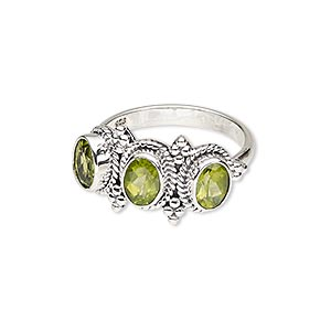 ring, peridot (natural) and antiqued sterling silver, 8x6mm faceted oval, size 9. sold individually.