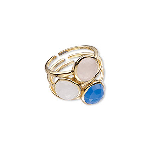ring, rainbow moonstone / blue chalcedony (natural / dyed) / gold-finished sterling silver, 24.5mm wide, size 10. sold individually.