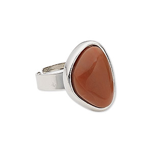ring, red jasper (natural) with silver-plated steel and pewter (zinc-based alloy), 22x17x17mm-22x18x17mm triangle, adjustable from size 5-9. sold individually.