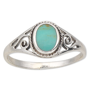 ring, resin and sterling silver, turquoise blue, 6x5mm oval, size 6. sold individually.