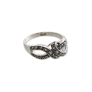 ring, signity marcasite (natural) and antiqued sterling silver, 19x9mm knot, size 8. sold individually.