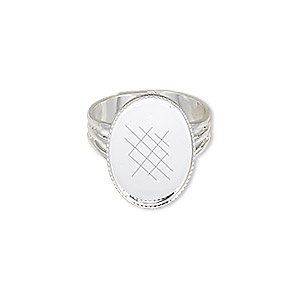 ring, silver-plated brass, 19x14mm with 18x13mm oval setting, adjustable from size 7-10. sold per pkg of 6.