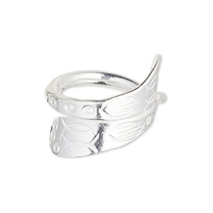 ring, silver-plated copper, 12.5mm wide with christian fish design, size 7-1/2. sold individually.