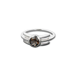 ring, smoky quartz (heated / irradiated) and sterling silver, 6mm faceted round, size 7. sold individually.