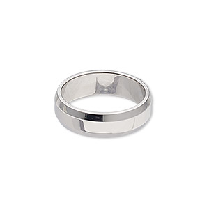 ring, stainless steel, 6mm wide beveled band, size 7. sold individually.