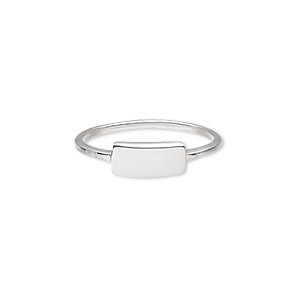 ring, sterling silver, 1.5mm wide band with 10x5mm blank plate, size 9. sold individually.