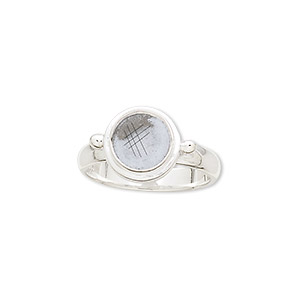 ring, sterling silver, 3mm wide with 8mm round bezel setting, size 7. sold individually.