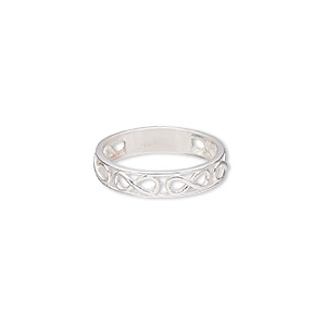 ring, sterling silver, 5mm wide with infinity design, size 9. sold individually.