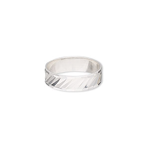 ring, sterling silver, 6mm wide with diamond-cut lines, size 9. sold individually.
