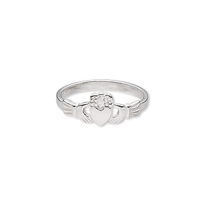 ring, sterling silver, 7.5mm wide with claddagh, size 7. sold individually.